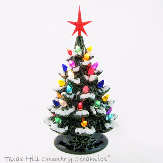 39575ed3ce9 Happy Holidays Ceramic Christmas Tree with Snow 8 1 2 Inches Tall Color  Lights Choose
