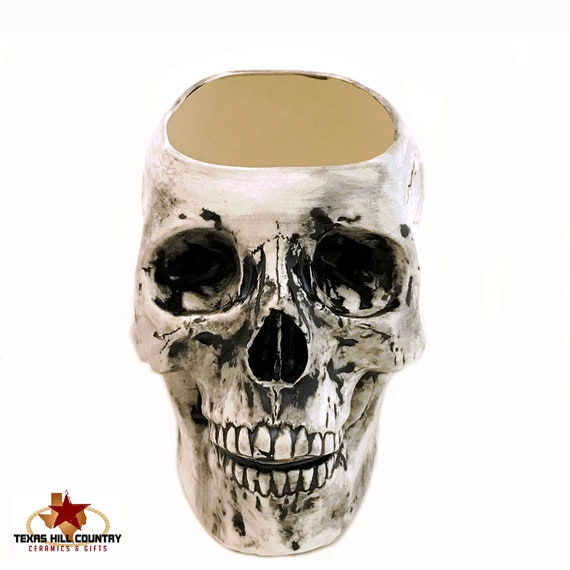 Large Ceramic Skull Holder or Container Antique Black for Make-up Brushes, Skull Planter, Kitchen Counter Catch All, Bath Vanity Organizer