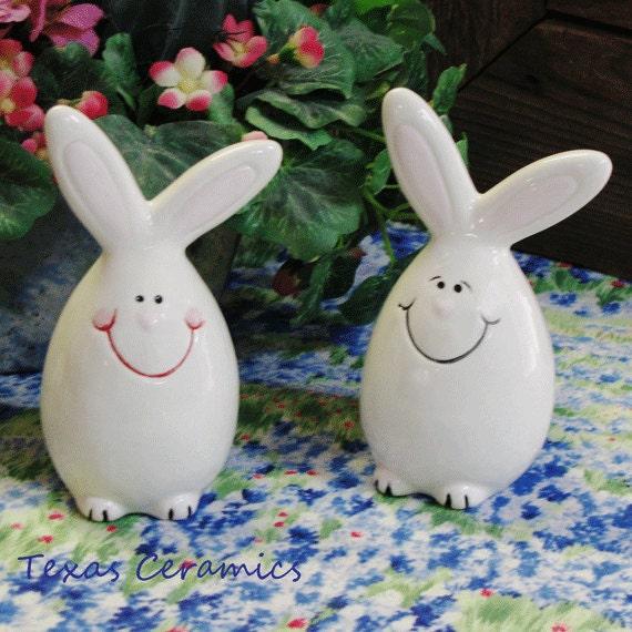 Ceramic Easter Egg Bunny Rabbit Salt and Pepper Shakers