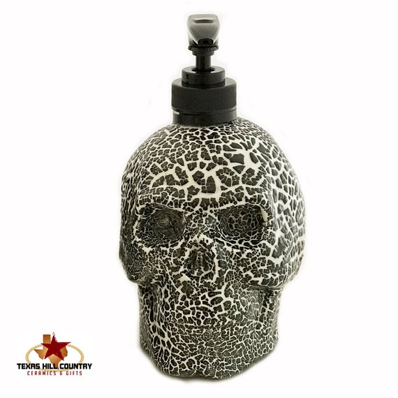Skull Soap Dispenser Black and White Textured Finish Halloween Horror Haunted House Friday 13th Decor Bath Vanity or Kitchen Decor