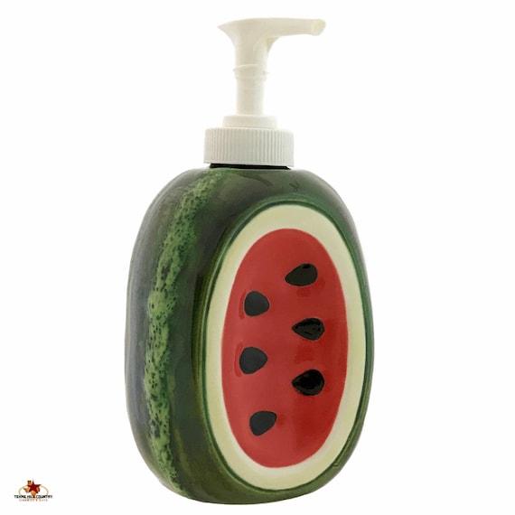 Watermelon Soap Dispenser, Ceramic Kitchen Decor, Bath Vanity Soap Accessory, Country Garden Fruit Decor, Summer Fruit Hostess Gift
