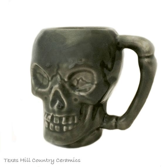 Skull Mug with Bone Style Handle in Dark Gray Ceramic Cup for Coffee or Tea Hot or Cold Beverages 8 Ounces