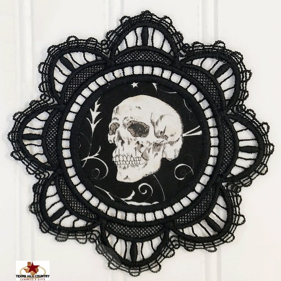 Black Lace Doily Coaster with Center Skull Design, Embroidered Mug Coaster, Haunted House Witchy Halloween Decor or Goth Accessory