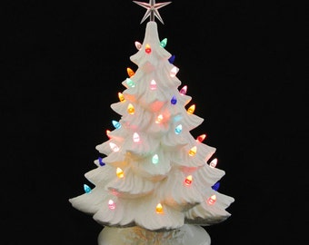 Large White Ceramic Christmas Tree 18 Inch Tall Color Lights and Star Electric Tabletop Decor - Made to Order
