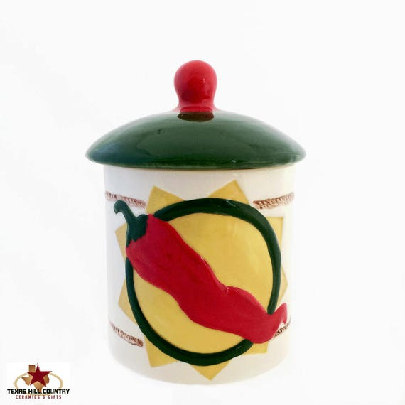 Ceramic Chili Pepper Container and Lid, Southwestern Style Kitchen Ware Sugar Bowl or Salt Canister, Candy Holder, Bath Vanity Container