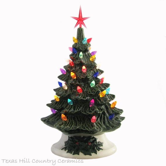 Tabletop Ceramic Christmas Tree in Green 11 1/2 Inches Tall with Color Lights and Star Detailed Holly Base Electric Lighted - Made to Order