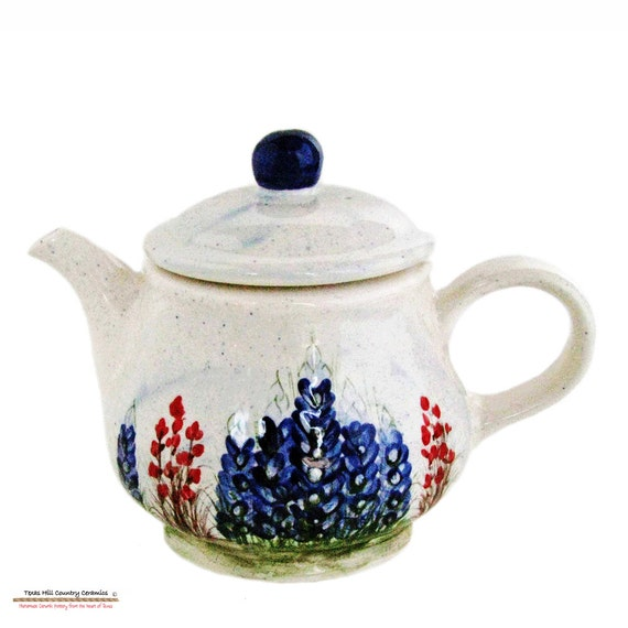 Country Style Ceramic Teapot with Original Hand Painted Texas Bluebonnet Wildflowers 32 ounces - Made to Order