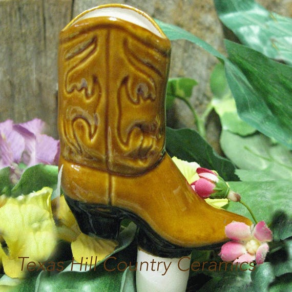 Western Cowboy Boot Plant Tender Water Spike in Warm Earth Glaze, Container Garden Water Spike, Plant Hydration for Indoor or Outdoor Plants