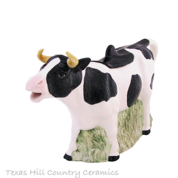 Holstein Cow Teapot in Black and White Ceramic Earthenware to Serve Hot or Cold Tea or Beverages