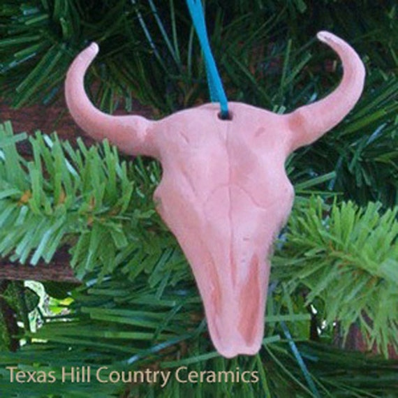 Texas Longhorn Cow Skull Christmas Tree Ornament Set of 3 Made of Terra Cotta Color Clay with Ribbon Hanger Wreath Ornament