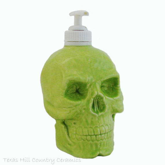 Ceramic Skull Pump Dispenser in Lime Green Ceramic Soap Bottle Pirate Skull Ware for Bath Vanity or Kitchen Counters