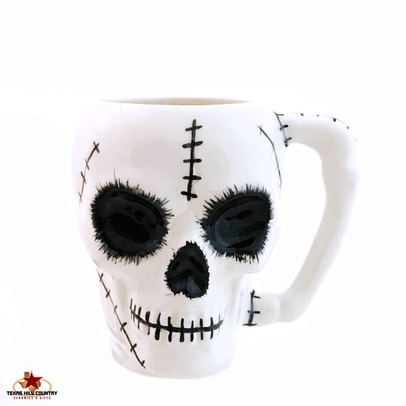 Zombie Skull Ceramic Mug with Stitching Design Bone Style Handle 8 Ounces Ceramic Skull Coffee Cup or Mug for Hot or Cold Beverages