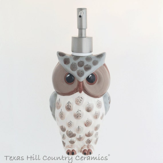 Tall Owl Soap Dispenser with Stainless Steel Pump Unit for Kitchen Counter, Ceramic Owl Dispenser for Lotion for Bath Vanity