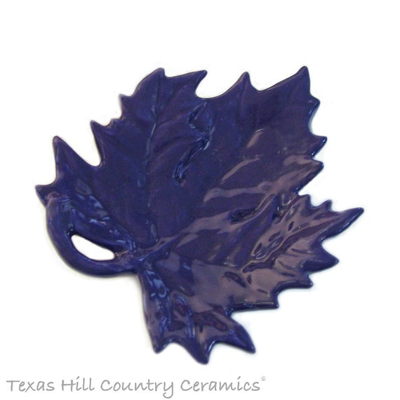 Purple Maple Leaf Tea Bag Holder, Small Ceramic Spoon Rest, Table Accent , Teabag Catcher, Tea Strainer Tray, Small Ring Dish