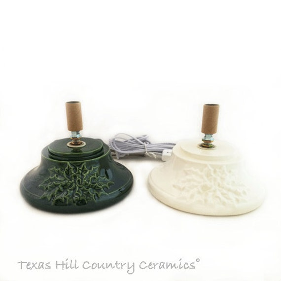 Large Replacement Base for Ceramic Christmas Tree with Holly Design on Front Your Choice of Color Green or White UL Fixture  - Made to Order