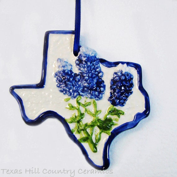 Christmas Tree Ornament Texas State with Bluebonnet Hand Made and Hand Painted