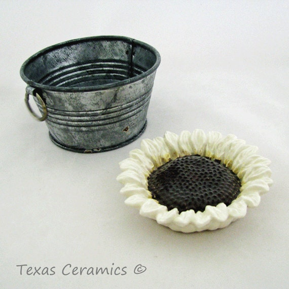 Creamy White Italian Small Sunflower Ceramic Tea Bag Holder Small Spoon Rest Trinket Dish for Kitchen or Bath Floral Keepsake Bridal Gift