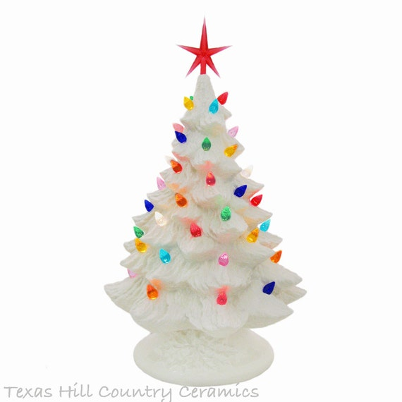 Winter White Ceramic Christmas Tree 16 Inch Tall Tabletop Tree Color Lights and Star Christmas is Around the Corner Holiday Traditions