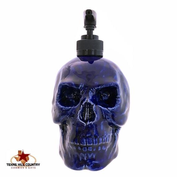 Dark Blue Ceramic Skull Soap Dispenser Horror Halloween Decoration for Bath Vanity or Kitchen, Cobalt Blue Haunted Look Decor Home or Office