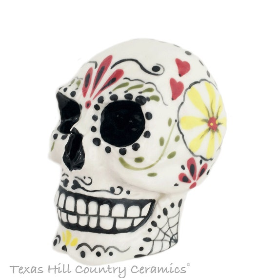 Day of the Dead Sugar Skull Scrubby Holder Bath Vanity Storage Container Halloween Treat Jar with Open Area in Back Small Utensil Spoon Jar