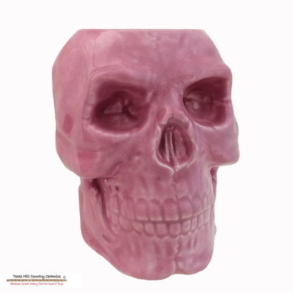 Bright Pink Ceramic Skull Toothbrush Holder for Bath Vanity Pencil Pen Tool Caddy Pencil Desk Accessory Flower Planter Kitchen Container