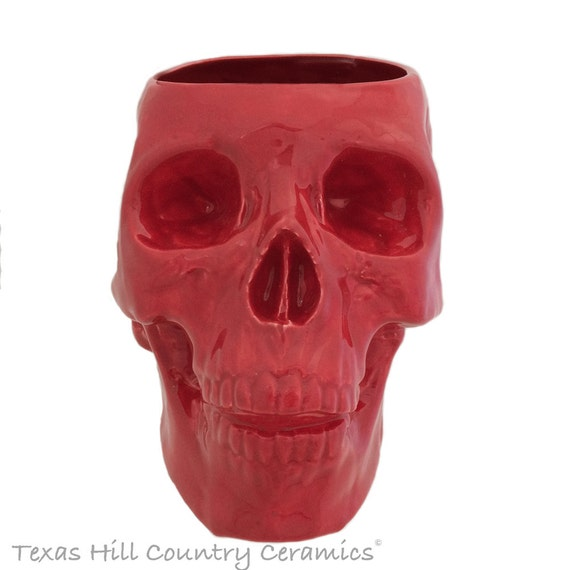 Large Red Ceramic Skull Holder or Container Bowl for Make-up Brushes, Plants, Kitchen Counter Catch All, Bath Vanity Organizer