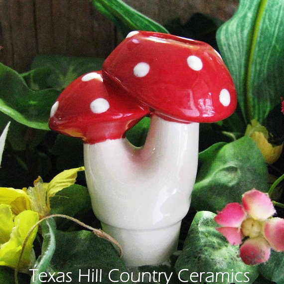 Small Mushrooms with Red Cap Plant Tender or Ceramic Aqua Spike for Container Gardens or Potted Plants Indoors or Outdoors