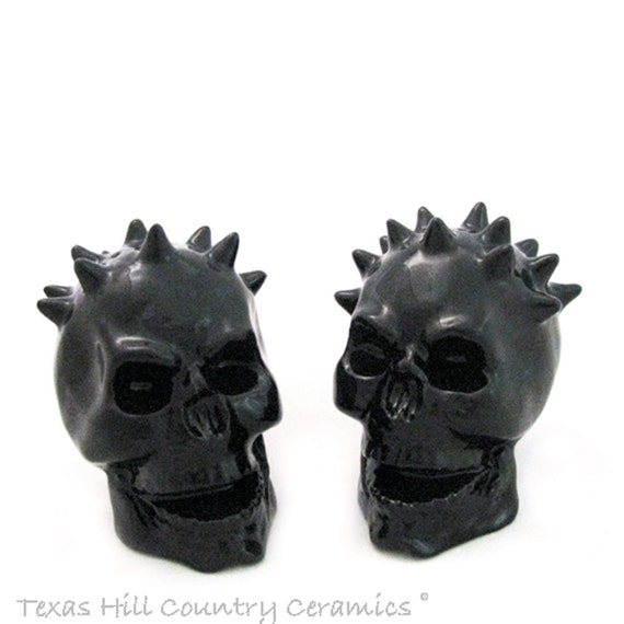 Spiked Skull Salt and Pepper Shakers in Black Haunting Kitchen or Dining Table Decor Wicked Looking Halloween Decorations
