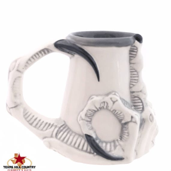 Middle Finger Up Yours Stein Tankard Mug for Your Favorite Brew of Hot or Cold Beverages with Claw Style Handle in Black, Gray and White