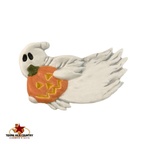 Ceramic Floating Ghost with Carved Pumpkin Ceramic Tea Bag Holder Small Spoon Rest Halloween Decoration - Ready to Ship