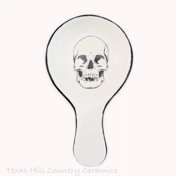 Large Skull Ceramic Spoon Rest for Kitchen Counters or Cook Tops or Stoves Halloween or Alternative Decor