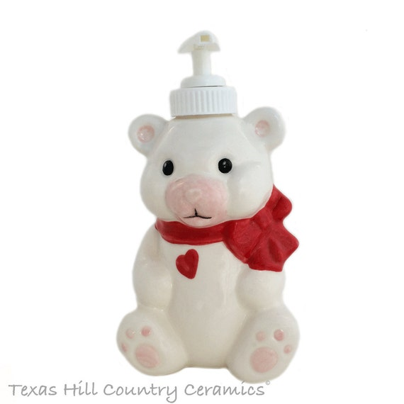 White Teddy Bear with Red Bow and Valentine Heart Ceramic Soap Dispenser for Bathroom Vanity or Girls Room Nursery Decor Sweetheart Gift