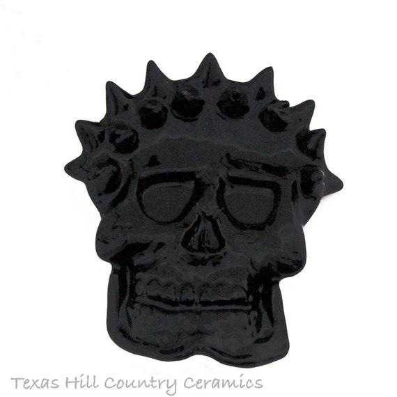 Black Spiked Skull, Ceramic Tea Bag Holder, Small Spoon Rest, Skull Desk Accessory, Horror Kitchen Decor, Medieval Skull Decor
