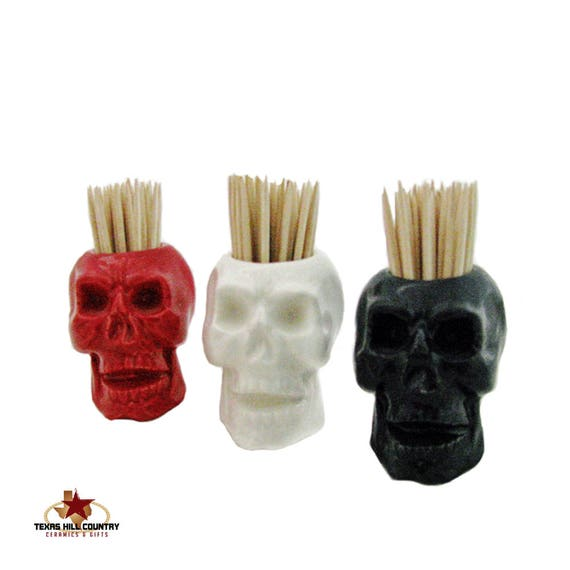 Ceramic Skull Toothpick Holder for Halloween Party Pirate Decor Kitchen Item Choose Your Color