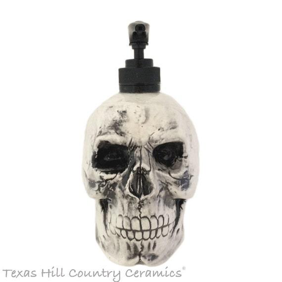 Antiqued Black Ceramic Skull Soap Dispenser for Halloween Horror or Friday the 13th Decor Pirate Theme Bath Vanity Kitchen Decoration