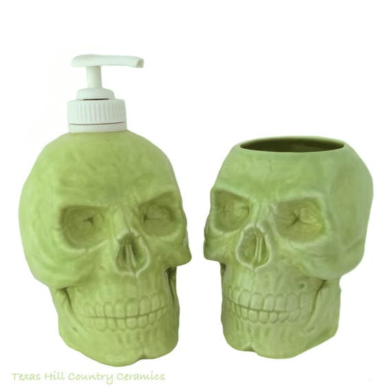 Ceramic Skull Set, Soap Dispenser and Toothbrush Holder in Lime Green for Bath Vanity or Kitchen Dish Soap Dispenser and Small Planter