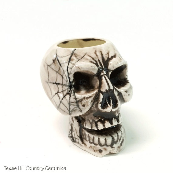 Aged Look Ceramic Skull Toothpick Holder with Cobweb Design for Halloween Party or Pirate Decor Kitchen Accessory Table Setting Accent