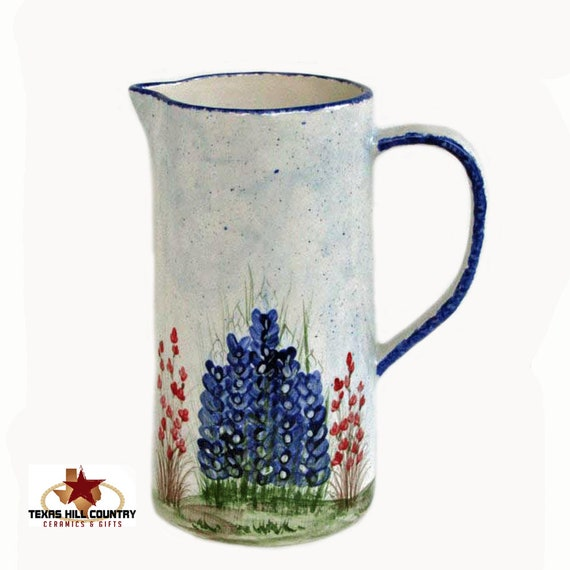 Tall Slender Ceramic Serving Pitcher or Flower Vase with Hand Painted Texas Bluebonnet Wildflowers Made to Order