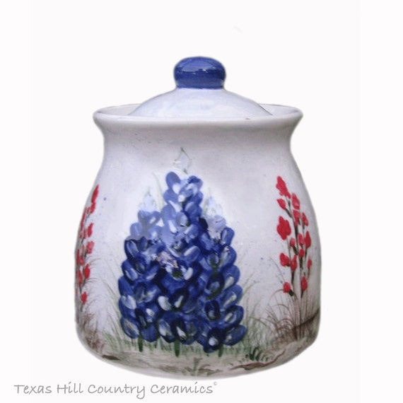 Keepsake Canister Jar with Lid With Texas Bluebonnets Indian Paintbrush Wildflowers Kitchen Sugar Bowl or Container - Made to Order