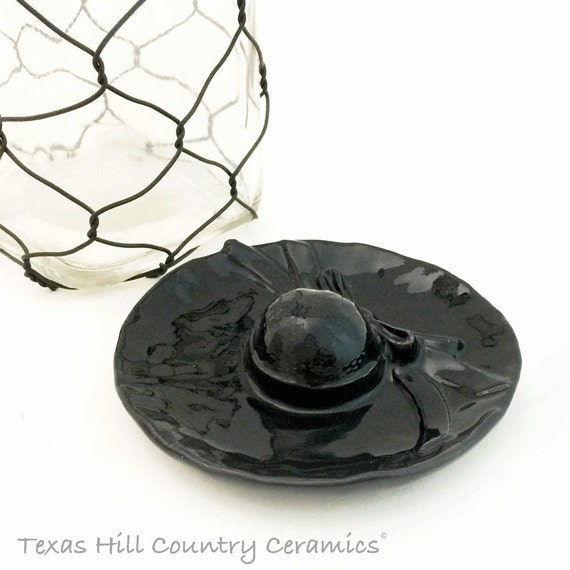 Black Sun Hat Tea Bag Holder Ceramic Keepsake Catch All Desk Accessory Skull Face Coffee Cup or Mug Accent Halloween Decor Goth Accent Piece