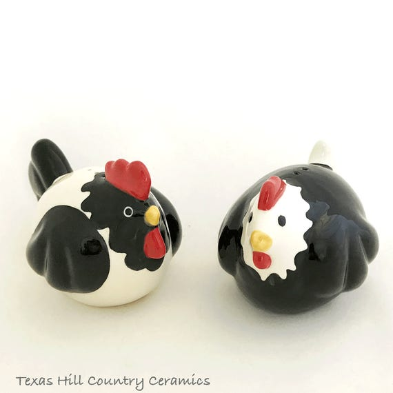 Fat Rooster and Chicken Ceramic Salt and Pepper Shakers, Black and White Chickens, Collectible Salt Pepper Shaker Set, Original Ceramic