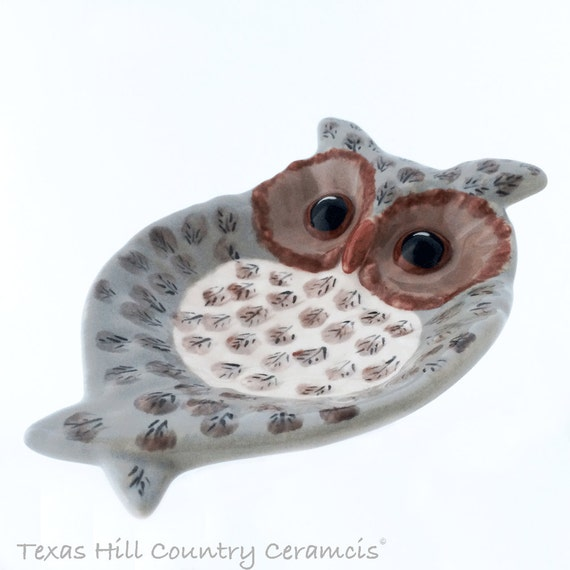 Wide Eye Owl Spoon Rest or Ceramic Soap Dish in Warm Taupe Brown and Cream Hand Painted Feather Detail