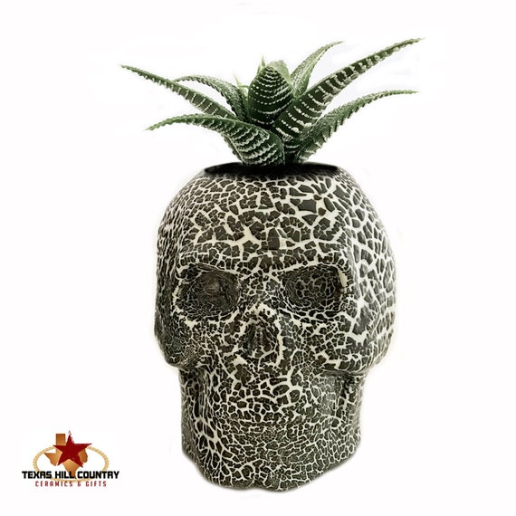 Skull Cactus Succulent Planter Make-up Brush Holder with Textured Finish in Black White Halloween Horror Haunted Friday 13th Rustic Decor