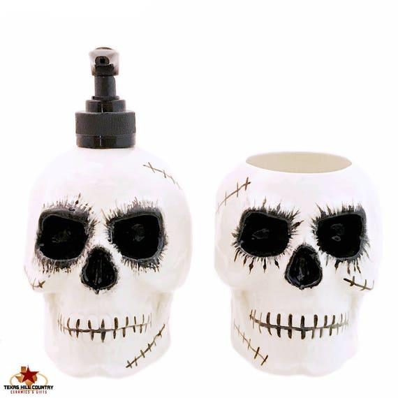 Scary Zombie Skull Soap Dispenser and Ceramic Toothbrush Holder Set for Bath Vanity or Kitchen Decor, Creepy Halloween Horror Decor