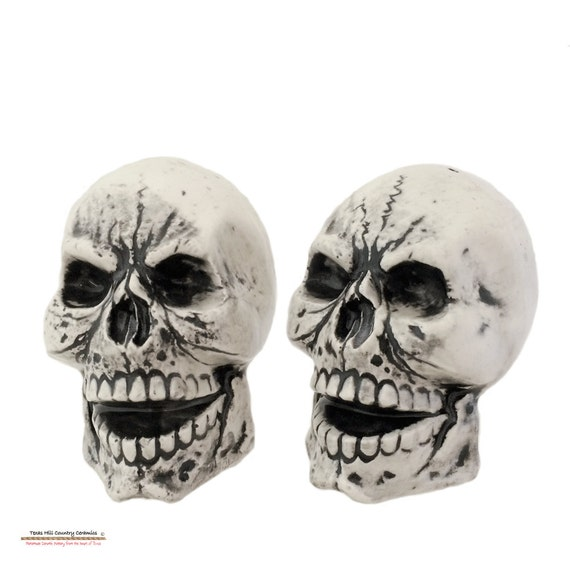 Antique Black Skull Salt and Pepper Shakers for Creepy Haunting Halloween or Pirate Theme Ceramic Kitchen or Dining Decor
