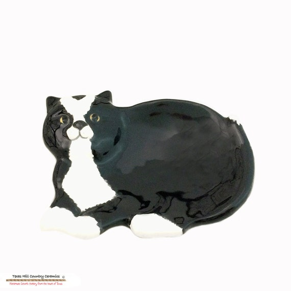 Tuxedo Cat Tea Bag Holder or Small Ceramic Spoon Rest or Catch All for Jewelry Rings Coins or Keys Hand Painted