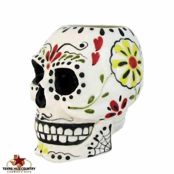 Ceramic Sugar Skull Holder for Toothbrushes, Pencil or Tool Caddy Day of the Dead Mexican Folk Art Design Flower Planter