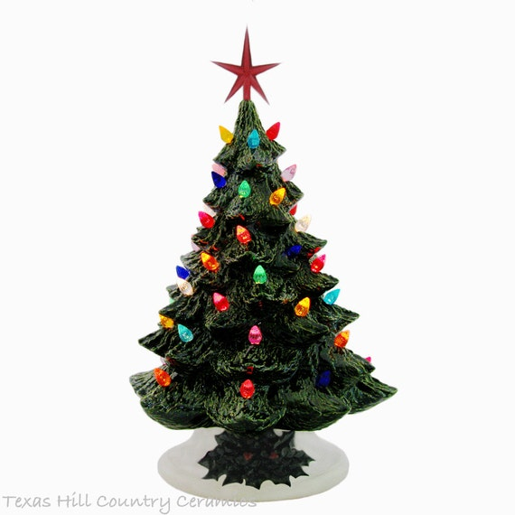 Dear Santa Large Green Ceramic Christmas Tree 18 Inch Tall Multi Color Lights Detail Holly Base - Made to Order
