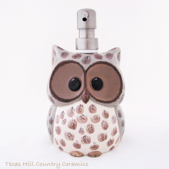Large Ceramic Owl Soap Dispenser with Stainless Steel Pump for Bath Vanity or Kitchen Decor Hand Painted Feather Detail My Original Design