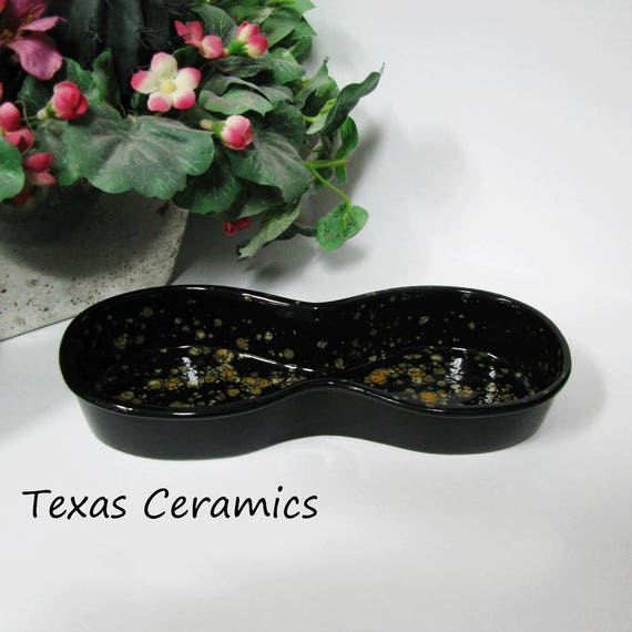 Ceramic Eyeglass Tray Classic Figure Eight Style Finished in Black Granite Look Glaze, Eye Glasses Holder for Desk, End Table or Night Stand